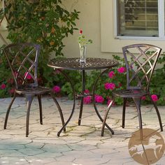 @Overstock - Add a touch of style to your patio area with this aluminum bistro set. The table and two chairs are composed of powder-coated aluminum in a classic bronze color that blends with other decor. An umbrella hole in the table allows the option of shade.http://www.overstock.com/Home-Garden/Christopher-Knight-Home-Modern-3-piece-Bistro-Set/6342191/product.html?CID=214117 $179.99