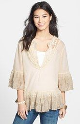 Sorrento Embroidered Bell Sleeve Peasant Top (Juniors)