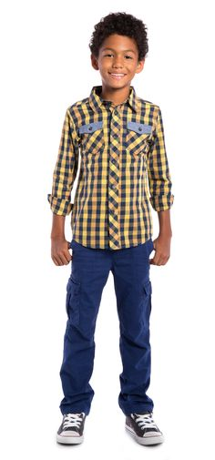 Dress up or dress down button up in a dark yellow and blue plaid. With two contrasting buttoned pockets.