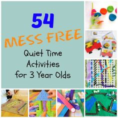 54 Mess Free quiet time activities for 3 year olds!  Perfect activities for naptime, car rides, or any time a caregiver may need a minute or two!  www.HowWeeLearn.com