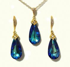 Something Blue Teal Gold Peacock Jewelry Set Teardrop by YJCouture
