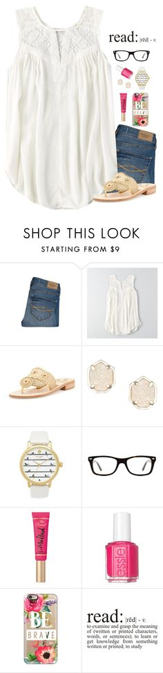 """""""Day 1// Meeting the Teacher🍎"""" by tropical-girl-xo ❤ liked on Polyvore featuring Abercrombie & Fitch, American Eagle Outfitters, Jack Rogers, Kendra Scott, Kate Spade, Ray-Ban, Too Faced Cosmetics, Essie, Casetify and katesbtsb2k16"""