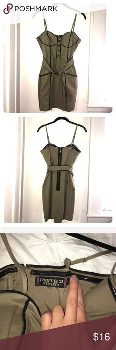 Olive Army detail Mini Dress Olive Army style Dress lays just above the knees, fits true to F21 size S. Perfect condition Forever 21 Dresses Mini