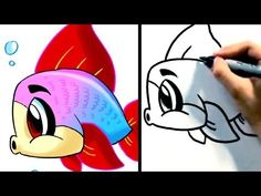 """How to draw a cute cartoon fish step by step! """"How to draw a fish"""" easy, for beginners. SUBSCRIBE for new easy drawing tutorials on how to draw cartoon characters EVERY WEEK here: http://www.youtube.com/fun2draw    Watch these AWESOME Fun2draw playlists:    How to Draw Sea Animals  http://www.youtube.com/playlist?list=PLAD4C1B53204EDFF5    How to Draw ..."""