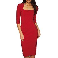 Amazon.com: Sexy Womens 3/4 Sleeve Pencil Dress Midi Length Square Neck Office Party: Clothing