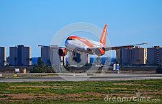 An Easyjet aeroplane just about to land at Spains Alicante Airport.