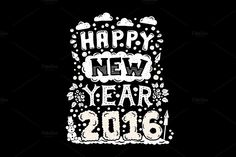 Happy New Year 2016 Vintage Posters by Decorwith.me Shop on Creative Market