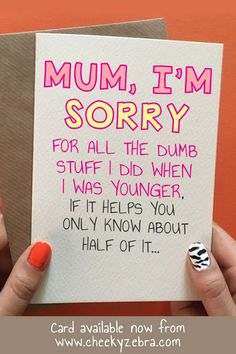 Dumb Stuff This funny mother's day card from daughter is the perfect gift to let your mum know you love her. This hilarious card is. Happy Birthday Mom From Daughter, Birthday Presents For Mum, Birthday Cards For Mom, Mothers Day Gifts From Daughter, Mother Birthday Gifts, Diy Mothers Day Gifts, Mothers Day Cards, Funny Gifts For Mom, Birthday Ideas For Mum