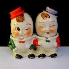 ANTHROPOMORPHIC EGG HEADS ~ Vintage S Salt And Pepper Shaker Set Pots
