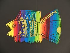 3rd Grade Rainbow Fish by Paintbrush Rocket, via Flickr