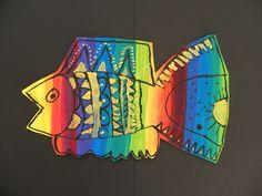 3rd Grade Rainbow Fish by Paintbrush Rocket, via Flickr