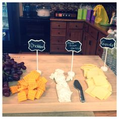 Wine themed bridal shower, cheese display