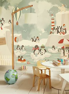 Little Hands Wallpaper Mural - Penguins by Little Hands , via Behance