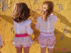 Calções de veludo cotelê com flores cor de rosa e renda de algodão e calções cor de rosa com bordado Inglês - Pink flowered shorts with pink cotton lace and pink shorts with flowers and cotton eyelet