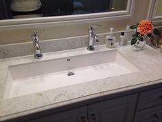 Wymara Trough Sink By Mti, Installed As Undermount. Moen U0027Wynfordu0027 Faucets  In Chrome.