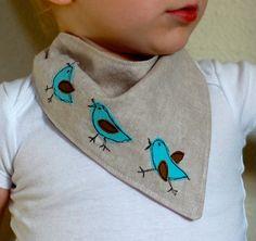 Linen Bluebird Parade Reversible Baby Bandanna Bib by beek on Etsy, $15.00