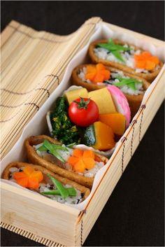 Japanese Bento of Inarizushi, Sushi-Rice Stuffed in Fried Tofu Pouches|いなり寿司弁当