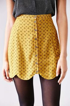 Cooperative Scalloped Button-Front Mini Skirt - Urban Outfitters