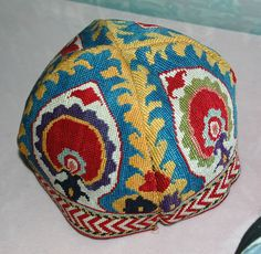 uzbek hat, cross-stitch embroidery, silk, natural dyes, 1890-1910, Shahrisabz city. Ethnic central asian cap, Museum of Art Tashkent, Uzbeki...