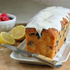 Blueberry (and Raspberry) Cake with Lemon Icing