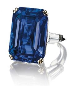 Jewels for Hope: The collection of Mrs Lily Safra - A 31.21 carat rectangular-cut Burmese Sapphire and Diamond Ring, mounted by Boucheron #christiesjewels #boucheron