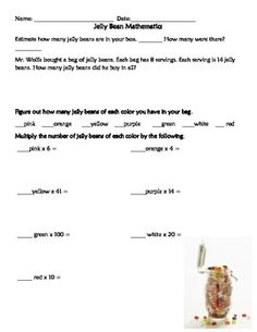 A 10 page packet with activities all that can be done with Jelly Beans. Activities include:    *bar graphs,   *pictographs,   *line graphs,   *tally charts,   *fractions,   *addition,   *estimation,   *place value,   *number sense, and   *multiplication.