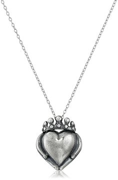 Rhodium Plated Sterling Silver Oxidized Celtic Claddagh Pendant Necklace, 18' >>> You can find more details by visiting the image link.