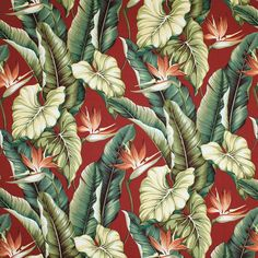 """Bird of Paradise design in color burgundy on base cloth of 100% cotton bark cloth. Repeat: H-16.75""""; V-25.25"""""""