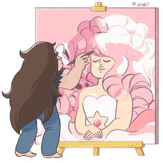 After doing my Rose Quartz portrait redraw, I really wanted to add young Greg to it. We all agree that Greg painted it, right? Original post with my full Rose painting: http://azabet.tumblr.com/post/116275902545/tonights-drawing-practice-another-steven
