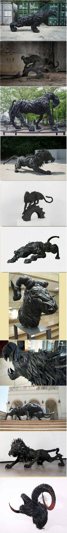 Monster aus alten Autoreifen