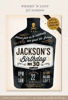 Old-Time Whisky tattoo MANLY MAN birthday party printable invitation and signs, by La Bandita Design.