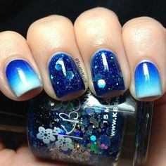 Ombre blue and glitter