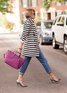 #Blogger Seersucker + Saddles pairs the raspberry Satchel with stripes