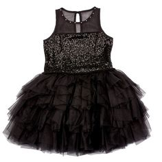 Bunnies Picnic - Ooh La La Couture Tulle Necklace Sequin Dress in Black - Boutique Clothing for Girls and Boys