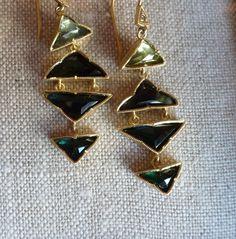 Just finished green/blue tourmaline grey diamond triangle chandelier earrings. Tourmaline is amazing.