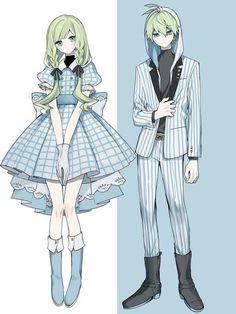 Anime Girl Dress, Manga Anime Girl, Kawaii Anime Girl, Anime Siblings, Cute Anime Couples, Character Outfits, Cute Anime Character, Drawing Anime Clothes, Anime Drawings Sketches