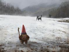 The brave gnome, Jakub Rozalski Dark Fantasy Art, Fantasy Magic, Medieval Fantasy, Fantasy Artwork, Arte Horror, Horror Art, Fantasy Creatures, Mythical Creatures, Weekend Fun
