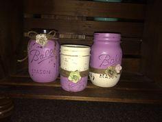 Purple Preppy Mason Jar set. Good for gift, center piece or dorm room!