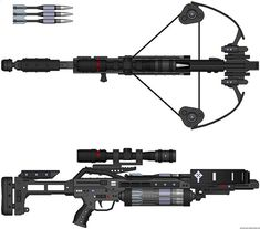 crossbow van helsing futuristic weapon laser blaster cross bow automatic shotgun.jpg (1600×1408)