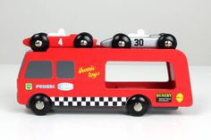 Wooden Race Car Transporter with two race cars - Ikonic Toys