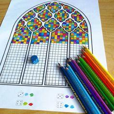 Leuk spelidee: vakjes kleuren aan de hand van een dobbelsteen.