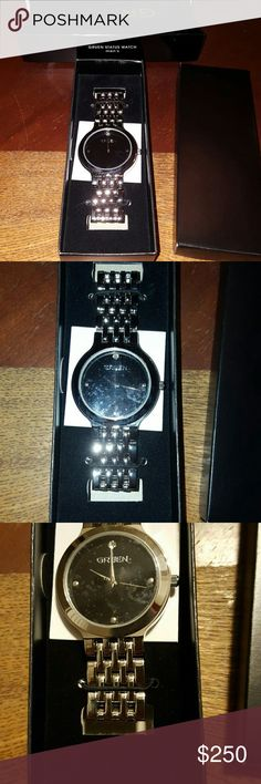FlashSale❤NewRARE Gruen Men's Diamond Status Watch Brand New, Very handsome watch with 1 Diamond at the 12th hour.  Black face with silver accents. The watch is custom through Avon's limited edition fine jewelry. This watch is rare and no longer available for sale through Avon. Did a search,  and this will be the only one for sale on the internet today.  Battery was tested and works.   Great Valentine's Day gift. Get it before it's too late! Final price,  no bundle discounts Gruen…