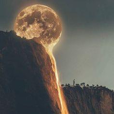 La Luna . OP: Waterfall by @markian.b & Moon by @NASA via @unsplash (CC0) Edited by Me