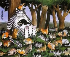 Kliban cat with many kittens Crazy Cat Lady, Crazy Cats, Kliban Cat, Son Chat, Street Art Photography, All About Cats, Cat Drawing, Beautiful Cats, Dog Art