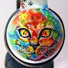Individuelle Kopfhörer  psychedelische Katzen. von atelierChloe