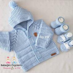 GÜNAYDIN HAYIRLI HUZURLU MUTLU SABAHLAR  Bu guzellikler Cemile hanimin Istanbul esenler siparislerindendi.Mutlu günlerde kullanılsın… Baby Knitting Patterns, Free Baby Blanket Patterns, Baby Sweater Patterns, Baby Hats Knitting, Knitting For Kids, Knitting Designs, Baby Patterns, Baby Cardigan, Cardigan Bebe