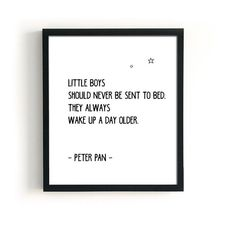 Peter pan nursery decor, black and white typography for boys nursery, Scandinavian style