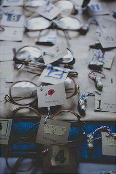 vintage glasses used as escort cards