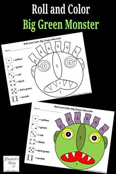 Go Away Green Monster Roll and Color Math Activity
