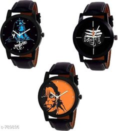 Checkout this latest Analog Watches Product Name: *Trendy  Men's Leather Watch (Pack Of 3)* Strap Material: Leather Date Display: No Dial Design: Gods Images Dial Shape: Round Display Type: Analog Dual Time: No Gps: No Light: No Multipack: 3 Sizes:  Free Size Country of Origin: India Easy Returns Available In Case Of Any Issue   Catalog Rating: ★4 (2187)  Catalog Name: Stylish Men'S Leather Watches Combo Vol 2 CatalogID_90417 C65-SC1232 Code: 603-789836-786